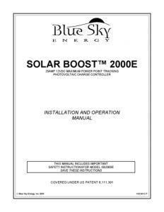 thumbnail of Blue Sky Energy sb2ke manual