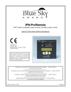 thumbnail of Blue sky energy ipn-pro remote