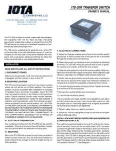 thumbnail of IOTA 30 amp Transfer Switch Manual
