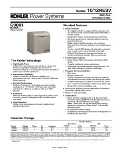 thumbnail of Kohler 10 12 RESV Data Sheet