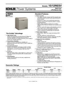 thumbnail of Kohler 10 12 RESV Data Sheet