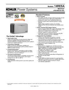 thumbnail of Kohler 14 RESA Data Sheet