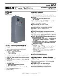thumbnail of Kohler RDT-TX Switch Data Sheet
