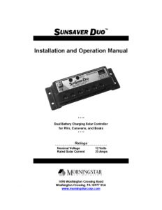 thumbnail of Morningstar corp. sunsaver duo manual